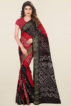 Nirja Creation Black & Red Bandhani Silk Saree