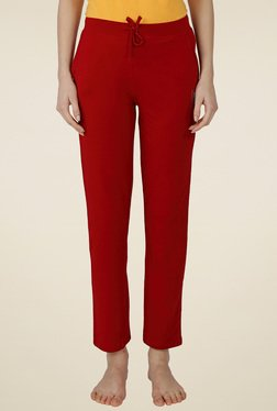 Red Ring Maroon Cotton Mid Rise Track Pant