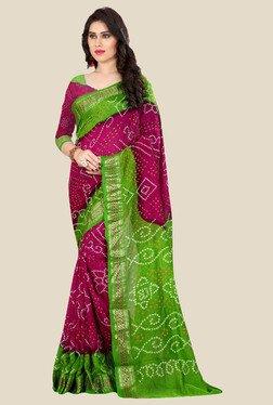 Nirja Creation Pink & Green Bandhani Print Silk Saree