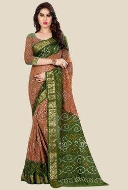 Nirja Creation Brown & Green Bandhani Print Silk Saree