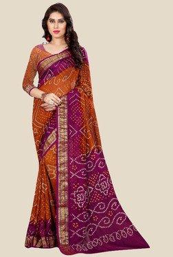Nirja Creation Orange & Pink Bandhani Print Silk Saree
