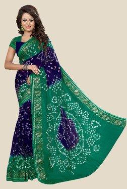 Nirja Creation Navy & Green Bandhani Print Silk Saree - Mp000000001079194