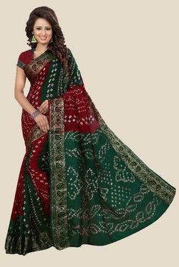Nirja Creation Maroon & Green Bandhani Print Silk Saree - Mp000000001079293