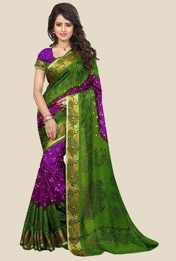 Nirja Creation Purple & Green Bandhani Print Silk Saree