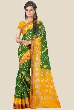 Nirja Creation Green & Yellow Bandhani Print Cotton Saree