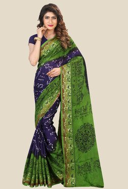 Nirja Creation Blue & Green Bandhani Print Silk Saree - Mp000000001079422