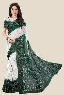 Nirja Creation White & Green Bandhani Print Silk Saree