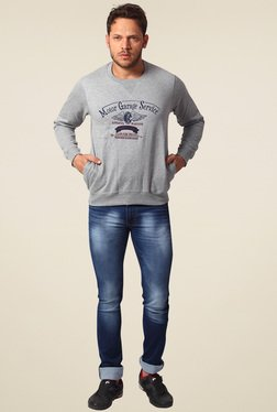 Club Fox Grey Melange Regular Fit Sweatshirt
