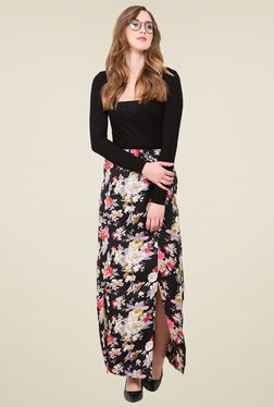 Trend Arrest Black Printed Maxi Skirt