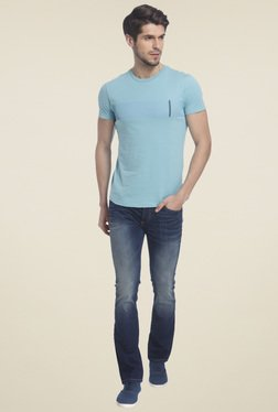 Jack & Jones Aqua Blue Round Neck T-Shirt
