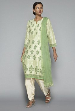 Vark By Westside Green & Beige Floral Print Suit Set