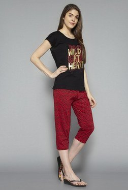 Intima By Westside Red & Black Animal Print Capri Set