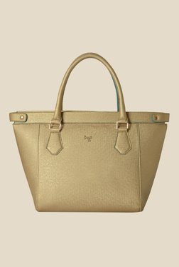 Baggit Crusty Flori Golden Synthetic Solid Trapeze Bag