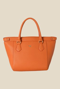 Baggit Crusty Flori Orange Synthetic Solid Trapeze Bag