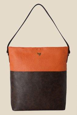 Baggit Hobbes Times Brown Synthetic Tote Shoulder Bag