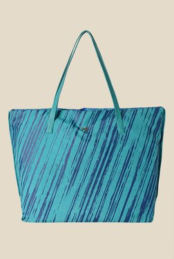 Baggit Hoove Excel Aqua Synthetic Printed Tote Shoulder Bag