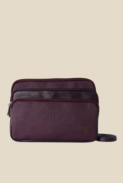Baggit Isaac Jhuti Wine Synthetic Textured Sling Bag
