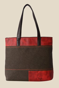 Baggit Leander Frosty Dark Brown Fabric Tote Shoulder Bag