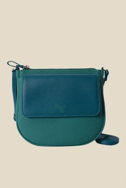 Baggit Rebellion Goblin Teal Blue Textured Sling Bag