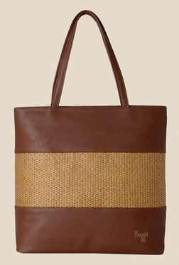 Baggit Rain Escape Cognac Textured Tote Shoulder Bag