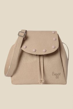 Baggit Finnie Gland Beige Fabric Solid Bucket Sling Bag