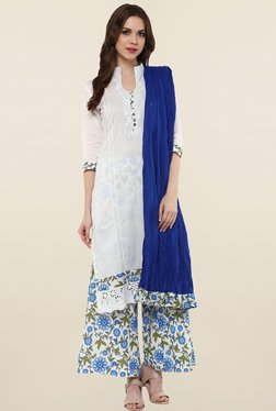 Magnetic Designs White & Blue Cotton Kurta With Palazzo