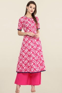 Magnetic Designs Pink Cotton & Crepe Kurta With Palazzo