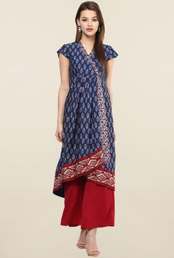 Magnetic Designs Navy & Red Printed Crepe Kurta With Palazzo