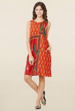 Global Desi Rust Printed Dress