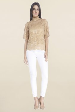 Vero Moda Brown Lace Top