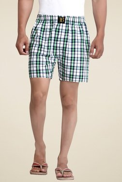 London Bee White Checkered Regular Fit Boxers