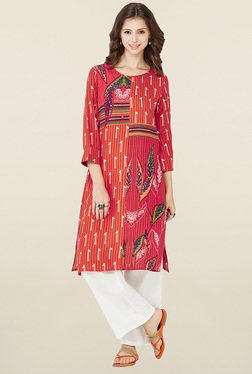 Global Desi Rust Printed Kurti