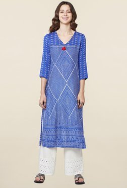 Global Desi Blue Geometric Print Kurta