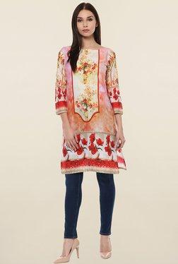 Ahalyaa Pink & Orange Printed Cotton Kurti