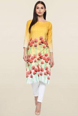 Ahalyaa Yellow Floral Print Cotton Kurta
