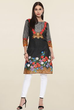 Ahalyaa Black Floral Print Cotton Kurti