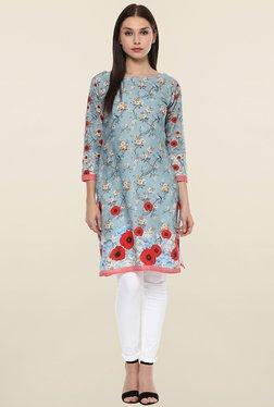 Ahalyaa Light Blue Floral Print Cotton Kurti