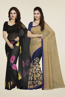 Ishin Black & Beige Printed Sarees (Pack Of 2)
