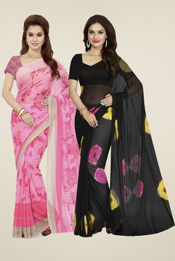 Ishin Pink & Black Printed Sarees (Pack Of 2)