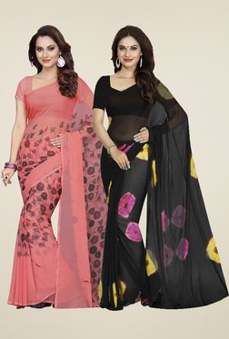 Ishin Coral Pink & Black Printed Sarees (Pack Of 2)