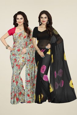 Ishin Pistachio & Black Printed Sarees (Pack Of 2)