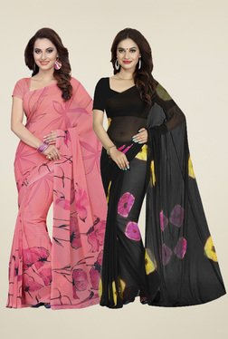 Ishin Rose & Black Printed Sarees (Pack Of 2)