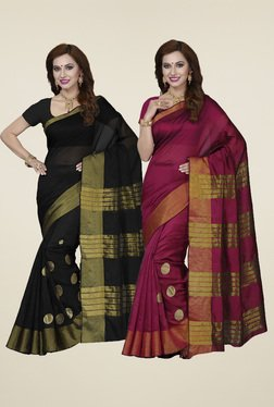Ishin Black & Maroon Printed Sarees (Pack Of 2)