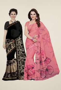 Ishin Peach& Black Printed Sarees (Pack Of 2)