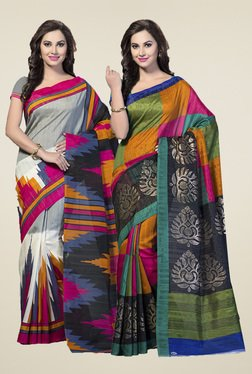 Ishin Multicolor Bhagalpuri Silk Sarees (Pack Of 2)