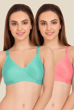 Tweens Turquoise & Peach Non Padded Bra (Pack Of 2)