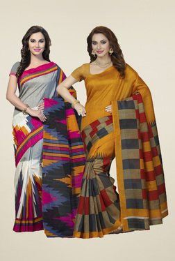 Ishin Mustard & Grey Printed Sarees (Pack Of 2)