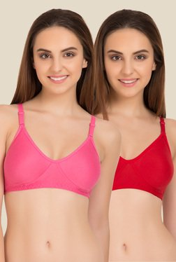Tweens Pink & Red Non Padded Bra (Pack Of 2)