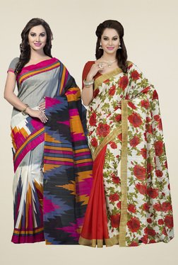 Ishin Off-white & Grey Printed Sarees (Pack Of 2)