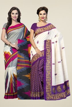 Ishin Grey & Purple Printed Sarees (Pack Of 2)